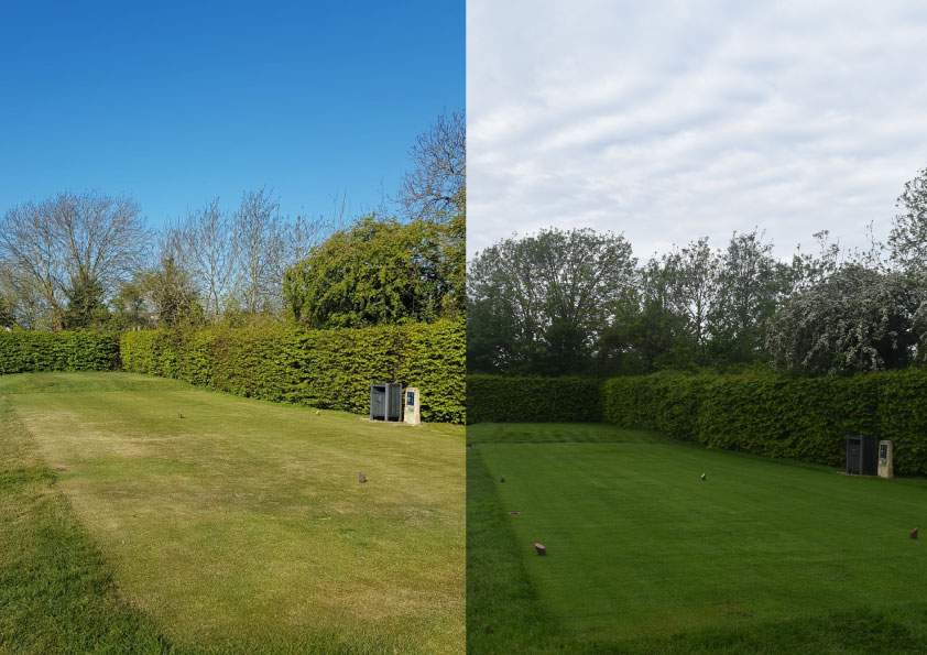 The two photos show the third tee two weeks apart at the beginning of the 2021 season.